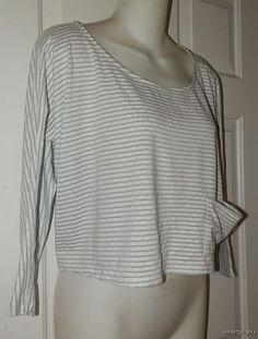 Womens ANTHROPOLOGIE Pure + Good TOP M Medium White Gray Cropped Lagenlook