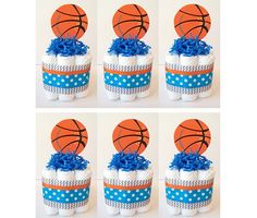 Set Of 6 Mini Basketball Themed Diaper Cakes, Sports Diaper Cakes, Baby  Shower Centerpieces