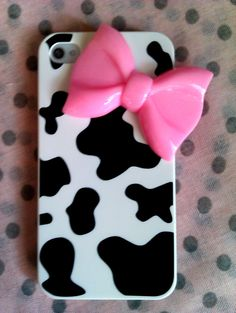 3D  Bow Cute cow print Iphone 4s case. €10.00, via Etsy.