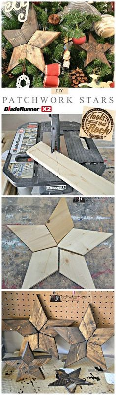 DIY Wooden Patchwork Stars. Easily add natural elements into your Christmas tree decor with these simple patchwork rustic wooden stars.