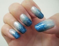 Holo gradient #2  Sally Hansen Celeb City (base color)  Glitter Gal Turbulence + Glitter Gal Marine Blue