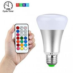 Viacfarebná,10W, LED žiarovka RGB + teplá biela Mood Light, Light Bulb, Color Changing Led, Color Change, Remote, Stuff To Buy, Bulbs, Lightbulbs, Light Globes