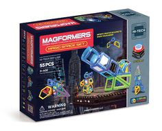 Magformers Magic Space Set (55 PCS) - 3,2,1 Blast off! Build futuristic space creations with the MAGFORMERS® Magic space set. Follow the Magic Space idea booklet to build 7 different space creations. Design spaceships, laser cannons, robots, and rockets! Light them up with our new infinity LED! Play with Magman, MAGFORMERS® space character, and create your own space adventure!