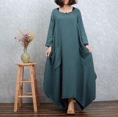 Linen dress Long sleeve Maxi dress Casual loose Linen Kaftan Custom-made dresses Plus size Clothes Oversized women dress Linen robes by Luckywu on Etsy