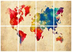 """World Map Watercolor Abstract Grunge - 8 Panel - 11"""" x 14"""" Prints Print Poster"""