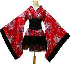 Lolita Dress Japanese Sakura Kimono Yukata Cosplay Maid Costume Halloween Dress - Ideas of Japanese Dress Short Kimono Dress, Kimono Outfit, Kimono Fashion, Fashion Outfits, Short Dresses, Yukata Kimono, Kimono Style, Fashion Sale, Ethnic Fashion
