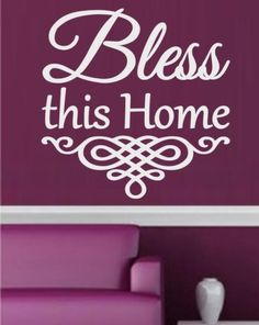 BLESS THIS HOME INSPIRATIONAL QUOTATION WALL ART STICKER EXTRA LARGE VINYL DECAL