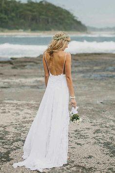 Beautiful thin strap wedding dress