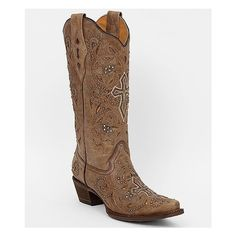 "Rhinestone and stud cut-out distressed leather western boot. Foil accents. Tall 12 3/4"" shaft, snip toe. 2"" heel. Lightly cushioned insole."