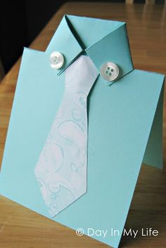 Cute and easy DIY Fathers Day Card Ideas to make at home.DIY Fathers day cards tutorials for making origami shirt cards,tie theme cards Fathers Day Shirts, Fathers Day Crafts, Cute Cards, Diy Cards, Pretty Cards, Daddy Day, Father's Day Diy, Homemade Cards, Holiday Crafts