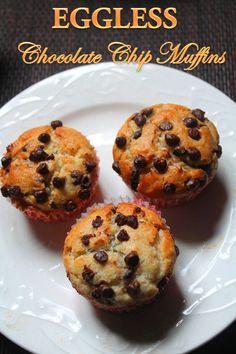 Eggless Chocolate Chip Muffins Recipe Used blueberry yogurt and no choco chips Eggless Desserts, Eggless Recipes, Eggless Baking, Baking Recipes, Eggless Muffins, Doughnut Muffins, Delicious Recipes, Egg Free Recipes, Muffin Recipes