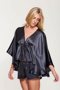 b9eaae5405 Silk Kimono Robe and Shorts Set - Luxury Silk Loungewear - Exquisitely  Handmade