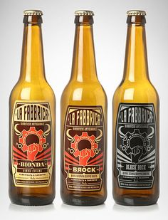 "Logo and packaging for an italian craft beer called ""La Fabbrica"" (which in Italian means ""The Factory""). The design had to convey the feeling of historical tradition and modernity at the same time. The style chosen was that of early 20th century socialist propaganda and labor movements posters. The same design was declined for the different kinds of beer, maintaining the principal elements and changing fonts and colours. By H-57®"