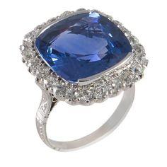 16.33 carat unheated Ceylon sapphire diamond platinum Cocktail ring