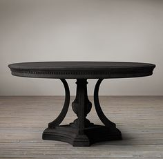 James Round Dining Table from Restoration Hardware – love! Black Round Dining Table, Round Dining Room Sets, Round Pedestal Dining Table, Round Tables, Black Table, Furniture Dining Table, Dining Room Table, Dining Rooms, Kitchen Corner
