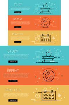 Study line vector web banners set