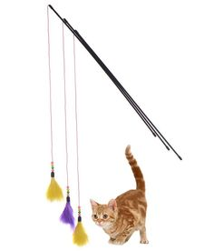 Yunt Cat Kitten Interactive Teaser Wand Cat Funny Toys Teaser Feather Toy Wire Chaser Wand(Random Color) *** Check out this great product. (This is an affiliate link and I receive a commission for the sales)