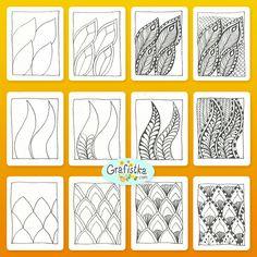 Пошаговое рисование дудлинг квадратов