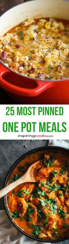 These the 25+ most pinned one pot meals recipes on Pinterest. One pot meals are a new trend in making quick and easy dinner meals. Try them, you'll like