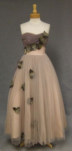 "1950's ""Falling Leaves"" Strapless Dress"