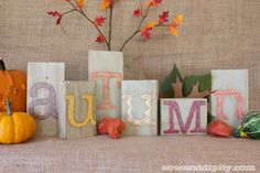 Recycle wood blocks into cute autumn letters