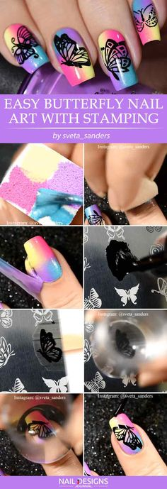 Easy Butterfly Nail Art With Stamping #nailstamping #ombrenails #squarenails