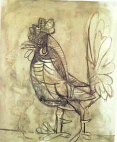 """A rooster - Pablo Picasso, 1938 artworks tagged """"hens"""" - WikiArt.org"""