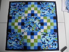 """Grit's Life: Children's Quilt """"Sealife""""  SCRAP VOMIT version I love the use of a feature fabric"""