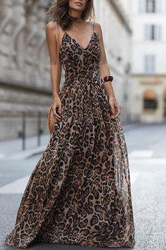 302f5b97257d8 Women Fashion Leopard V-Neck Sleeveless Maxi Dress
