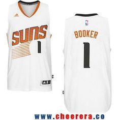 2658b732a Men s Phoenix Suns  1 Devin Booker White Stitched NBA adidas Revolution 30  Swingman Jersey Nba