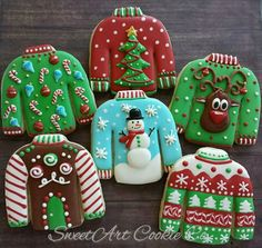 Ugly Sweater Cookies by SweetArt Cookie Co Wat mooi gemaakt zeg🤗 Fancy Cookies, Iced Cookies, Cute Cookies, Ugly Sweater Cookie, Ugly Sweater Party, Christmas Sugar Cookies, Holiday Cookies, Christmas Goodies, Christmas Baking