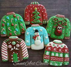 Ugly Sweater Cookies by SweetArt Cookie Co Wat mooi gemaakt zeg🤗 Fancy Cookies, Iced Cookies, Cute Cookies, Royal Icing Cookies, Cupcake Cookies, Cupcakes, Ugly Sweater Cookie, Ugly Sweater Party, Christmas Sugar Cookies