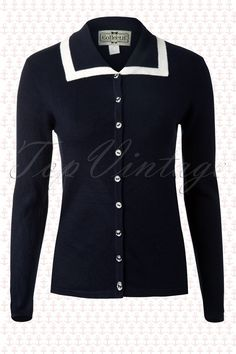 Collectif Clothing - 50s Ruby Longline Cardigan Navy