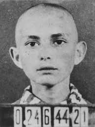 """Imre Kertész (b.1929) - Nobel Prize winner, as a kid in with concentration camp number.  Writer was a holocaust survivor who´s novel Sorstalanság is one of the best holocaust books ever written."""