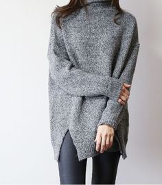 i'm so into this gray knit sweater
