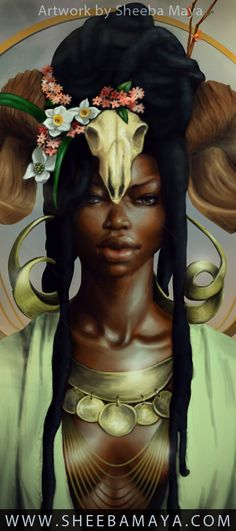 Aries by Sheeba Maya. Black Art. Black Women Art. Natural Hair Art. Afrofuturism.