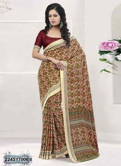 b7b2b8ddd65749 Eye Catching Multi Coloured Poly Silk Printed Saree Latest Sarees Online