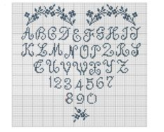 Grilles et diagrammes; alphabet heart sampler.  (other charts also available on link)