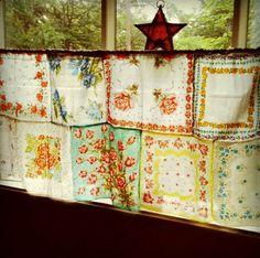 vintage hankies handkerchiefs curtain