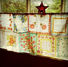 Vintage handkerchiefs curtain sewn together to make a curtain.