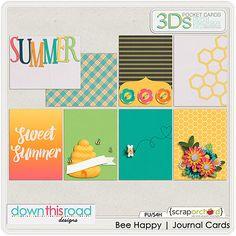 Digital Scrapbook - Bee Happy   Journal Cards   Down This Road Design