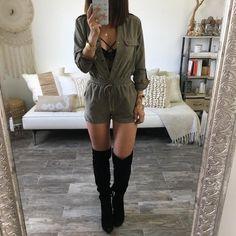Beautiful suede olive long sleeve romper. Elastic waist. Model is wearing Medium. shop the look: BRALETTE + BOOTS