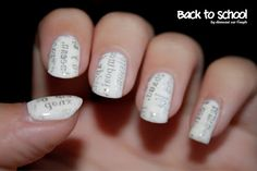 ✐ Back to school by diamant sur l'ongle, newspaper manicure