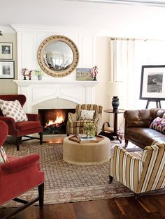 California Eclectic Gets a Traditional Twist// round mirror