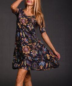 620f19d5e7 Black Floral Swing Dress - Plus Too  zulilyfinds
