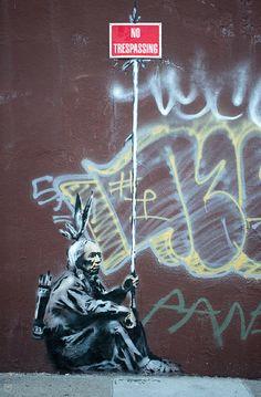 NO Trespassing sign. . . | 106 Awesome Banksy Graffiti Drawings