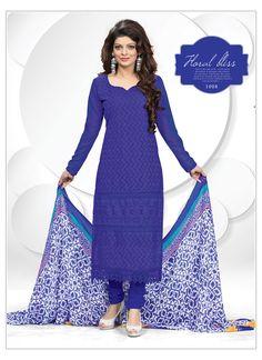 Dark Blue Gorgeous Schiffli Dress Material #OnlineBuyDress #CraftShopsIndia #DesignerDress