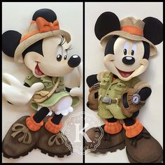 Karin Arruda - Let's go to the jungle! Safari Mickey & Minnie paper sculptures.