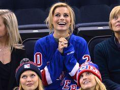 Margot Robbie attends a New York Rangers game on December 12, 2013.  (Photo by James Devaney/FilmMagic)