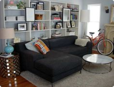 the Best Living Room Floating Shelves above Couch - waddenhome Bookcase Behind Sofa, Shelf Behind Couch, Shelves Above Couch, Bookshelves In Living Room, Ikea Billy Bookcase, Bookshelves Built In, Living Room Sofa, Apartment Living, Interior Design Living Room